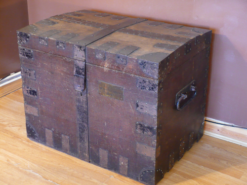 1850's solid Oak silver chest