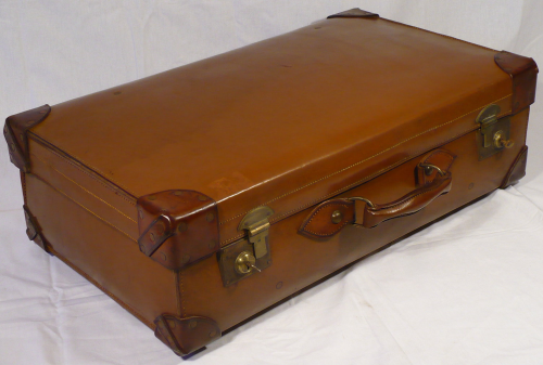 1930s/ 1940s brown leather suitcase (top case in picture of two)