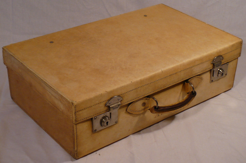 1940s vellum suitcase (bottom in picture of two)