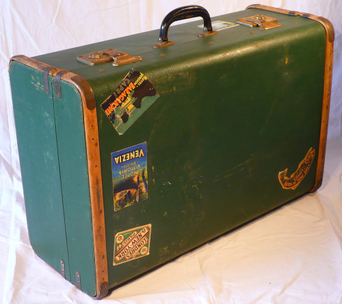 1950s vintage trunk case with reproduction travel labels