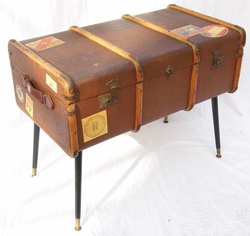 1920s/ 1930s Beech bound steamer trunk side / coffee table