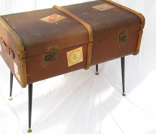 1930s / 1940s Beech bound steamer trunk side / coffee table