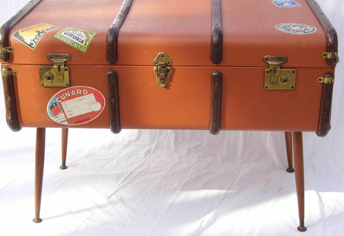 1950s steamer trunk side / coffee table