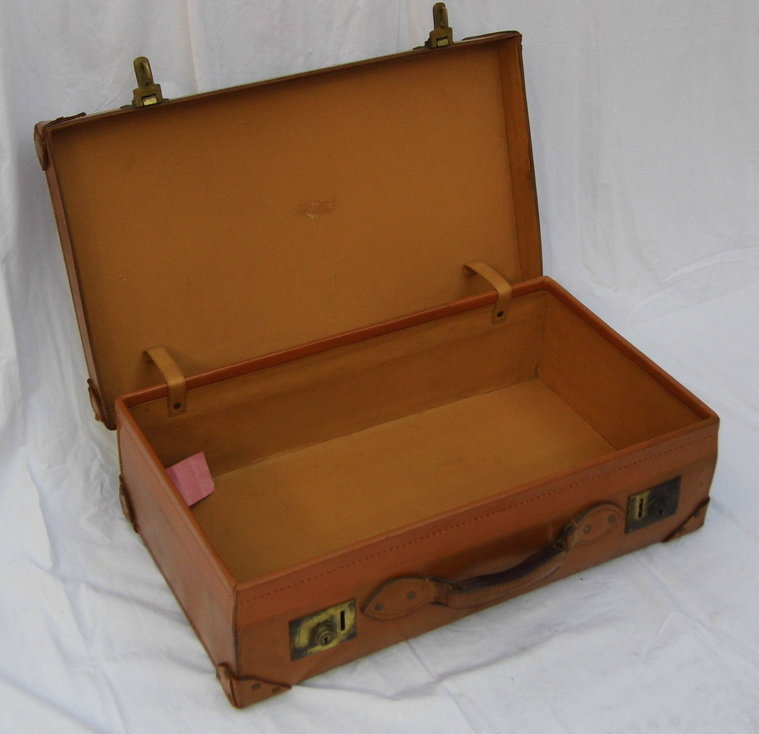 1940s Light Brown Thick Leather Suitcase With Solid Brass